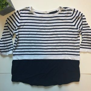 White and Navy Blue Striped Blouse